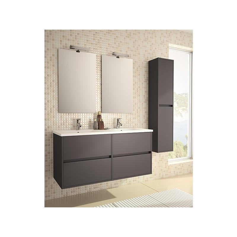 Mobile bagno arredo bagno 1200 mm sospeso con lavabo grigio opaco con specchio e colonna armadio - Arredo bagno grigio ...